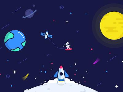 Having Fun in Space rocket ship moon earth sun stars astronaut space clean flat illustration