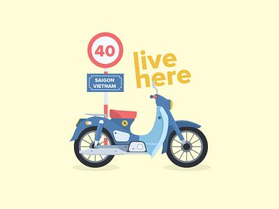 Motorbike sketch illustration traffic motorbike bike vietnam