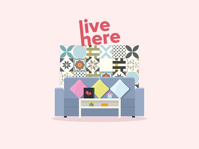 Living Room home living tiles sketch illustration vietnam couch