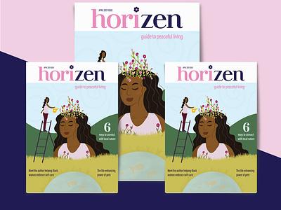 Horizen Magazine Cover branding digital illustration editorial design magazine design zine logo type design adobe graphic designer illustrator procreate indesign typography graphic design illustration editorial magazine