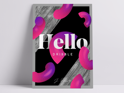 Hello Dribbble 👋  / ✨ P O S T E R ✨ design typography font serif font marble photoshop debut hello 3d poster