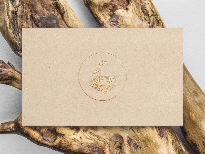 Logo for carpenter from Sydney golden business cards wood australia sydney builder nest carpenter logo