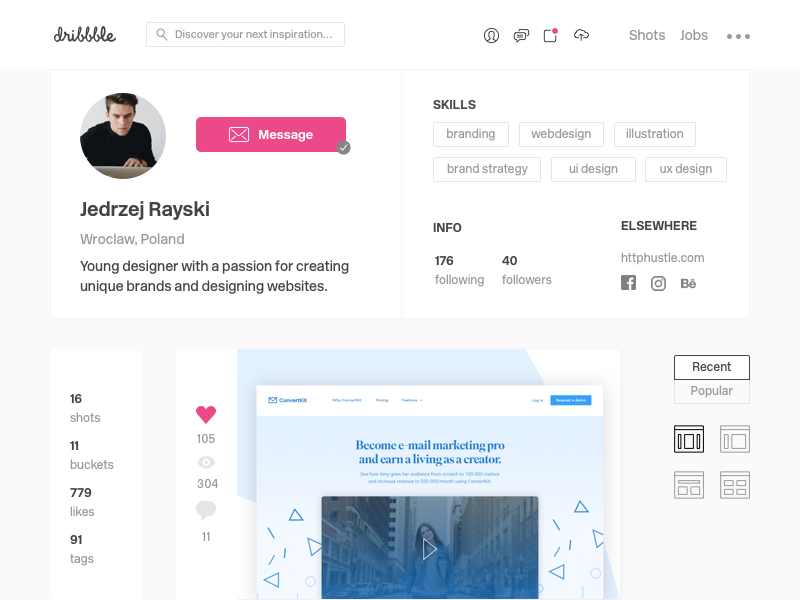 Dribbble Profile Redesign - Daily UI #006 dribbble redesign ux minimal ui sketch dailyui