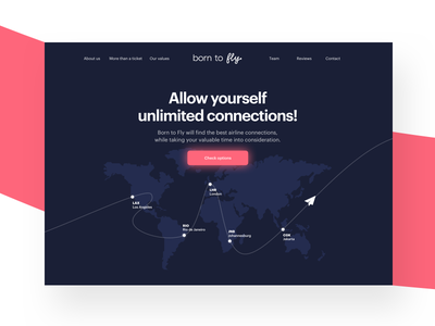 Born to Fly Website Homepage design above the fold minimal startup