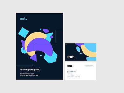 Brand materials for Init illustration business cards design minimal startup visual identity logo