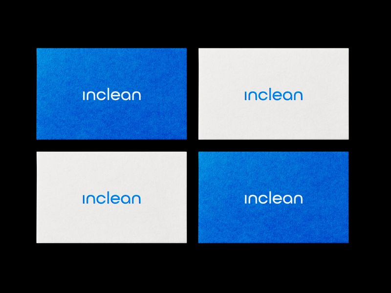 Inclean Business Cards blue clean logo branding business cards startup minimal