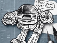 Pocket Sized ED-209 Cutout Illustration