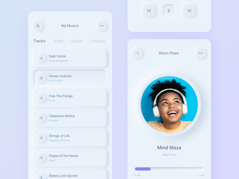 Neomorphism Music Player logo interface illustration icon flat concept character brand branding art 3d animation app ios minimal clean mobile ux ui design