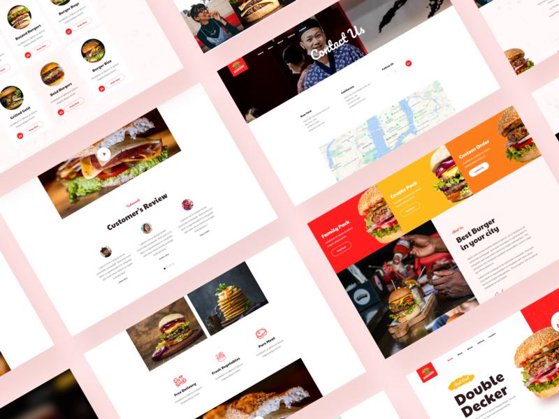 Burger Restaurant Website food delivery elegant application fast food ui design e-commerce shop app software branding food app flat design ux ios b2b web design food restaurant app illustration design