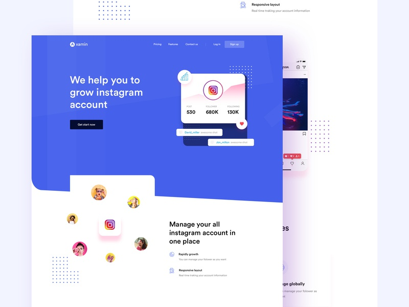 Instagram promote - Landing page by Uttom Sen for Team Oreo