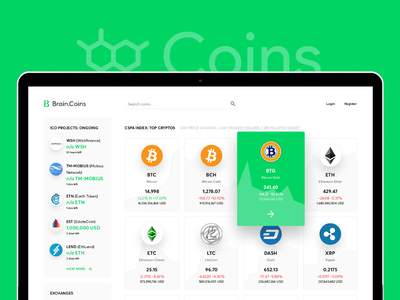 BrainCoins exchange crypto currency website minimal flat dashboad statistics market ipo ico wallet b2b finances coins etherium bitcoin