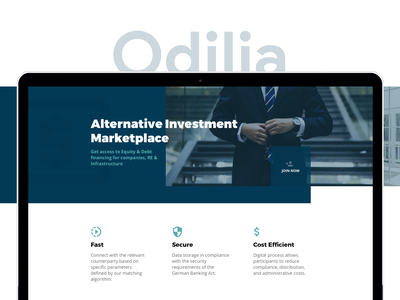 Odilia marketplace logo flat investments b2b real estate minimal website