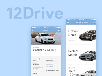 12Drive store ux ui minimal flat dealer cars ios android website app