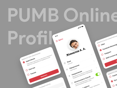 PUMB - Profile ux ui transactions register pumb payments online banking login ios illustrations flat design deposit dashboard credit cashback bank auth app android