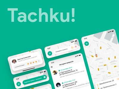Tachku! minimal flat taxi ux ui android ios mobile app