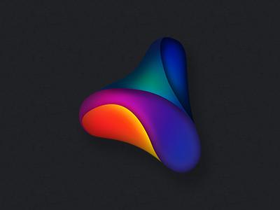Tri Droplet icon mobile app tv identity id logo app branding