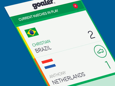 Goaler - Current Matches Screen android ios ux brand strategy ui game app mobile