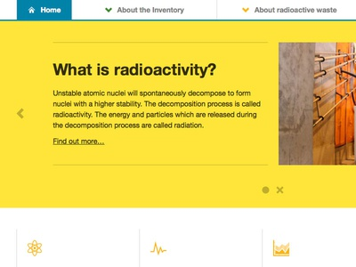 Main Feature Area feature yellow slider iconography radioactivity nuclear menu header navigation