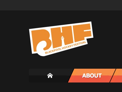 BHF Menu Simplify hockey gradient shadow tangerine orange tower logo brand identity