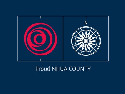 Affiliation graphic for County to Regional Level hockey lancashire rose pitch lines stroke compass north england proud circles