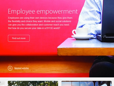 Empowerment laptop coffee article section panel related button widget