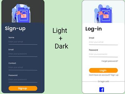Login signup forget password and OTP screens otp screen light mode dark mode sign up login