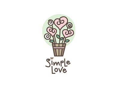 Simple Love logo love wedding heart roses