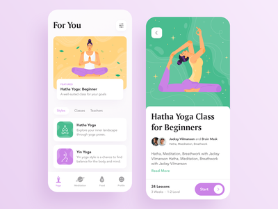 Mobile App for Yoga & Meditation & Nutrition mobile product yoga app meditation app meditation food nutrition yoga illustration app illustration ios app user experience typography app design user interface ux design ios ui app