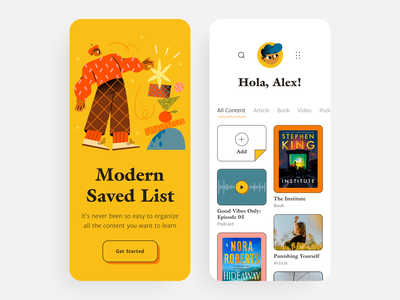 Saved List App podcast mobile tabs favorites saved books reading app reading list illustration app illustration user experience typography app design user interface ux cards design app ios ui