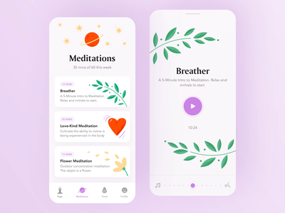 Meditation Mobile App app design femine ui typography meditations ios app illustration illustrated colorful yoga app player yoga animation illustration medicine meditation app wellness meditation app