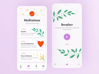 Meditation Mobile App app design femine ui typography meditations ios app illustration illustrated colorful yoga app player yoga animation illustration medicine meditation app wellness meditation app