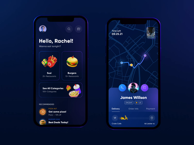 Food Delivery Video Concept gradient camera darkmode technology dark night 3dicon illustration animation ux user interface design ios ui 3d neon driver map video delivery app