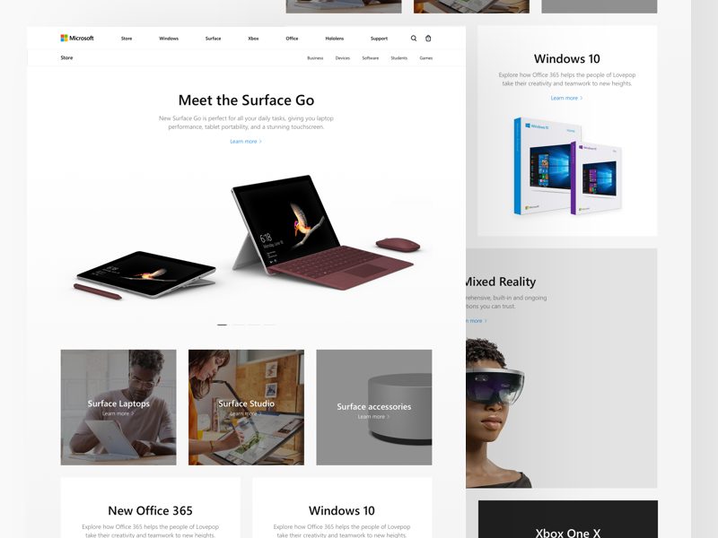 Microsoft: Store fluent design cards surface go surface pro redesign microsoft landing concept
