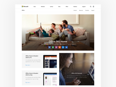 Microsoft: Office Store fluent design landing cards mac home redesign business office 365 office microsoft concept