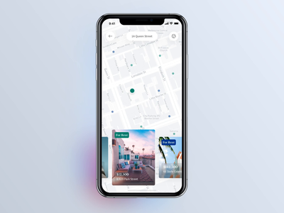 Real Estate iOS App: Show on the Map neighborhood crime map app design ios app real estate app ux ios12 realtor estate real estate estate app user interface typography user experience ui ios design app cards