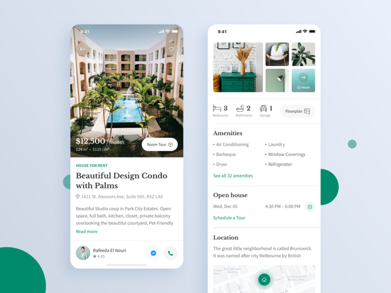 Real Estate iOS App: Property Listing rent house listing property cards app design ios ui user experience user interface estate app real estate estate realtor ios12 ux real estate app ios app app design