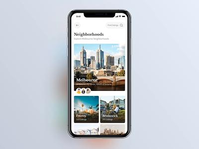 Real Estate iOS App: Neighbourhoods swipe interface animation animation cards app design ios ui user experience user interface estate app real estate estate realtor ios12 ux real estate app ios app app design neighborhood