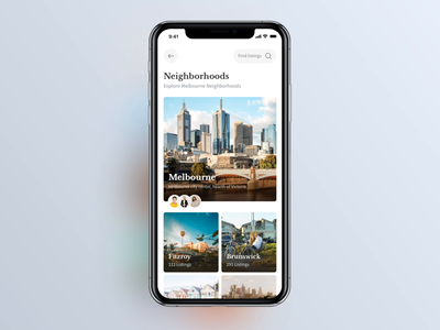 Real Estate iOS App: Neighbourhoods swipe interface animation animation cards app design ios ui user experience user interface estate app real estate estate realtor ios12 ux real estate app ios app app design neighborhood