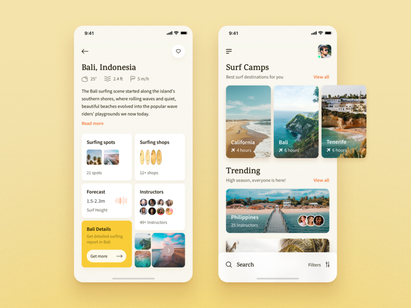 Surf App:  List of surf camps 🏄‍♂️ chill yellow typography design list search small cards mobile app mobile design ios app ios surfers surfing app beach surf app surfboard surfing surf app design app