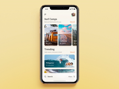 Surf App: Search&Filter Camps Animation users people list california surfers freelance app clean interaction experience flow ios results mobile app mobile design mobile animation surfboard travel app travel agency beach