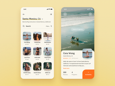 Surf App: Instructors List & Profile surf surfer app ios list instructor profile coach trainer search results warm vibe california user user profile list search user list rating ui