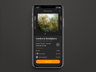 Live Auction, Bidding. ui app design interface animation after effects iphone design interaction interaction design principle ios win bids bidding live art auction dark interface animation app