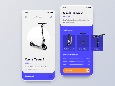 Scooter Store: Product Page store shop details clean sport design oxelo riding skateboard board scooter product page ecommerce cards typography app design ios user interface ui app