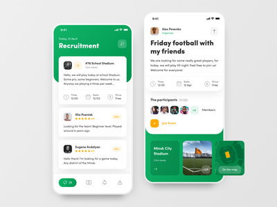 FootPlace: Football Places, Stadiums and Events green user interface ios app events app app design soccer play game sport app football app looking for group stadium friends events football design cards ios ui app