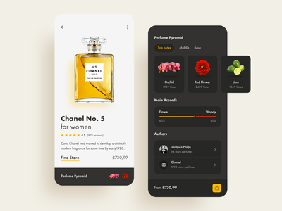 Fragrance Store: Perfume Product Screen buy product user interface cards typography user experience app design design interface design flowers lime dark shop ecomerce store fragrance perfume ui ios app
