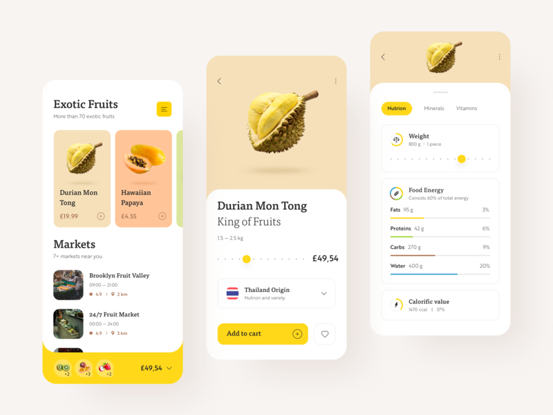 Exotic Fruit Store fruits nutrition cards design typography summer interface design ux ui interface ios food calories durian fruit app ecommerce shop store app fruit