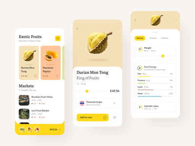 Exotic Fruit Store delivery fruits nutrition cards design typography interface design ux ui interface ios food calories durian fruit app ecommerce shop store app fruit