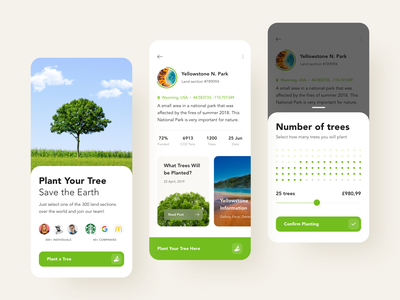 Plant a Tree App ios app app design green ios interface design design forest ecology earthday ecofriendly eco national park park growing tree select seat uiux ux ui app