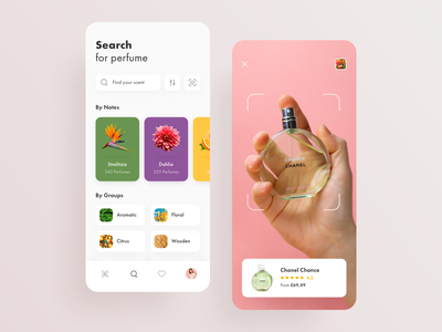 Fragrance Store: Perfume Search & AR Scan app search search results product purple flowers camera ar filters search ecomerce fragrance cards user experience ux app design user interface design ios ui app