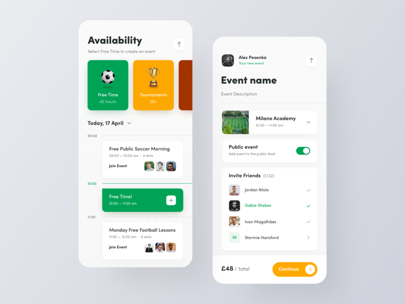 FootPlace: Schedule & New Event team friends social ios settings create new event events event calendar schedule soccer football sports sport typography interface design ux ui app